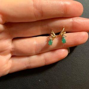 💎 EMERALD, DIAMOND, 10KT GOLD VINTAGE EARRINGS
